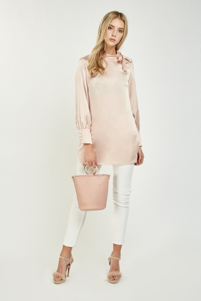 Tie Up Faux Pearl Sateen Blouse