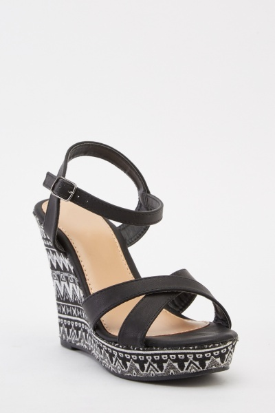 Aztec Contrast Wedge Sandals