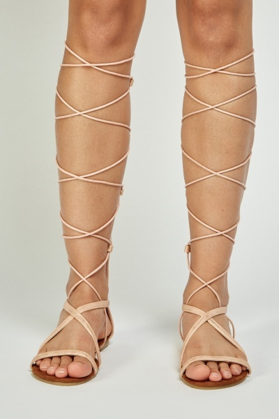 Lace Up Knee High Gladiator Sandals