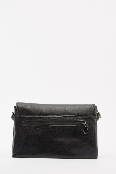 Stud Contrasted Faux Leather Bag