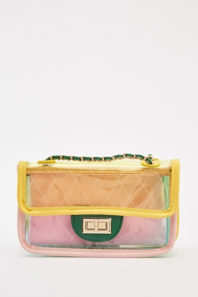 Transparent Colour Block Flap Bag