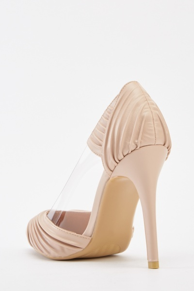 Transparent Ruched Contrast Heels
