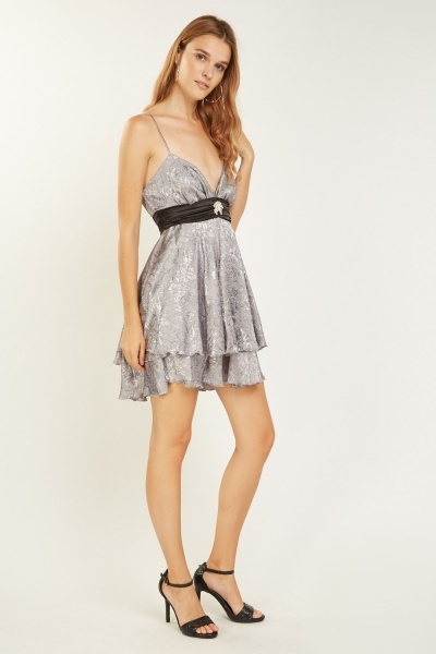 Diamante Trim Jacquard Sweetheart Dress