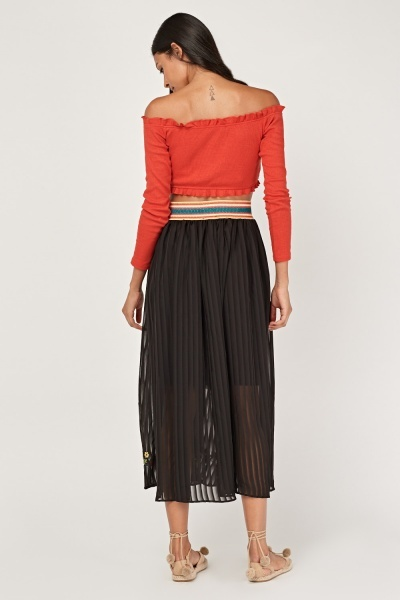 Embroidered Hem Pleated Sheer Skirt