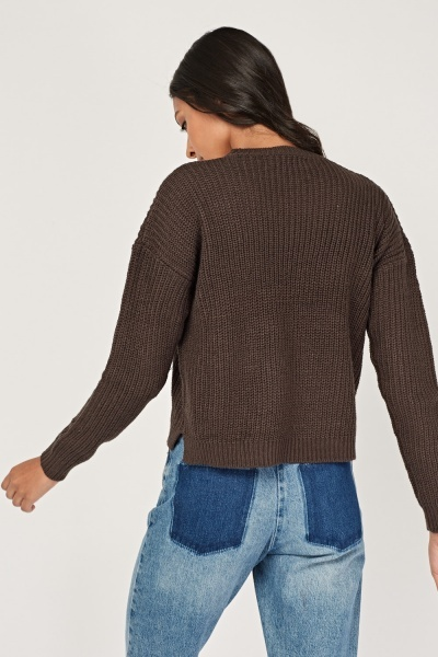 Logo Front Cable Knit Jumper