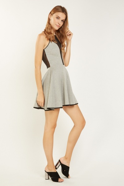 Mesh Insert Speckled Illusion Dress