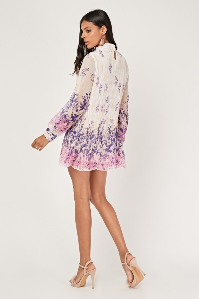 Printed Plisse Tunic Dress