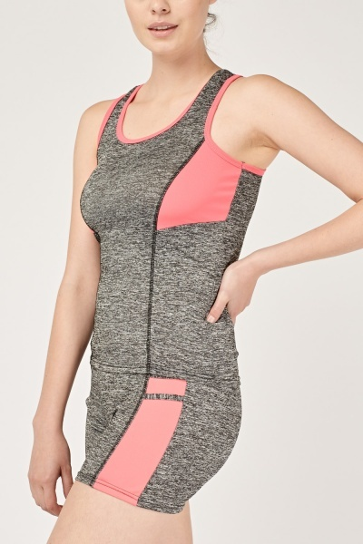 Speckled Sports Tank Top And Shorts Set