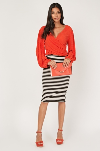 Striped Midi Pencil Skirt