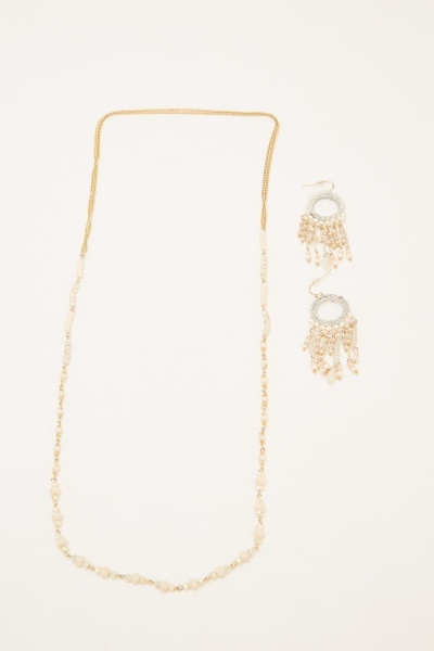 Beaded Chained Long Necklace And Earrings Set