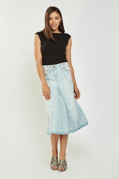 Flared Hem Midi Denim Skirt