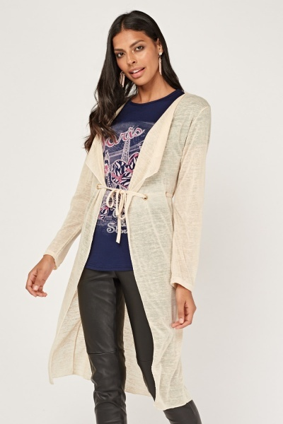 Top Insert Knitted Long Cardigan