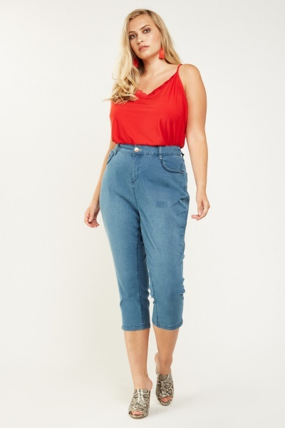 Washed Denim Causal Cropped Jeans