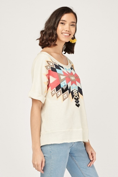 Contrasted Embroidered Print Top