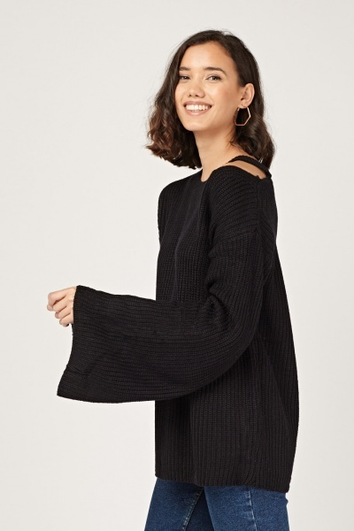 Cut Out Flared Sleeve Knit Jumper