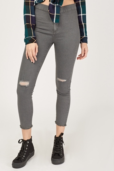 Distressed Knee Denim Jeggings