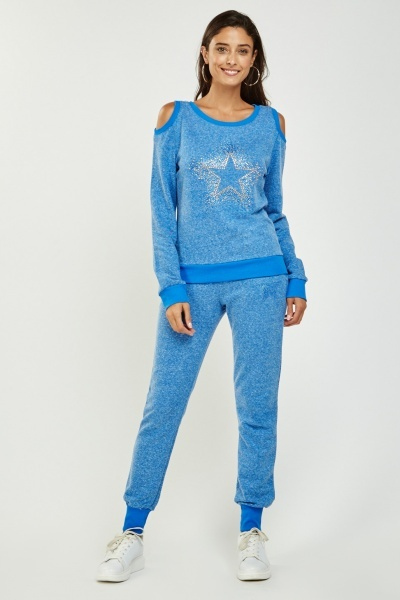 Encrusted Star Knitted Jumper And Jogger Set