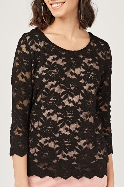 Floral Lace Overlay Top