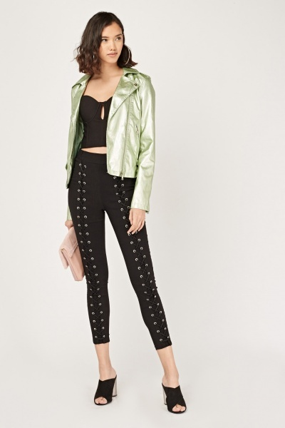 Metallic Faux Leather Biker Jacket