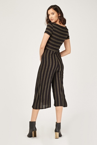 Metallic Striped Culotte Jumpsuit