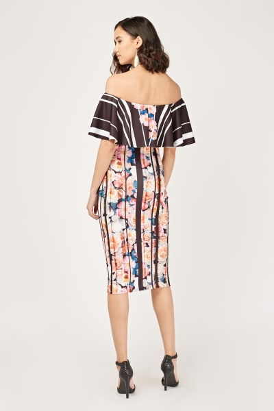 Mixed Print Frilly Off Shoulder Dress