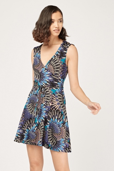 Peacock Feather Print Wrap Dress