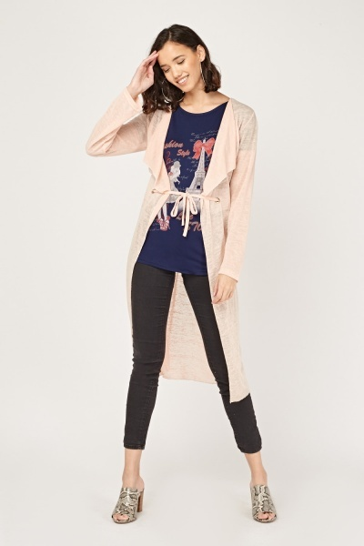 Waterfall T-Shirt Insert Cardigan