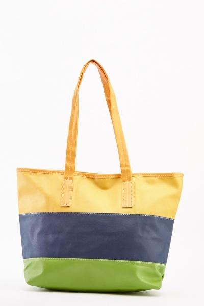 Colour Block Faux Leather Tote Bag