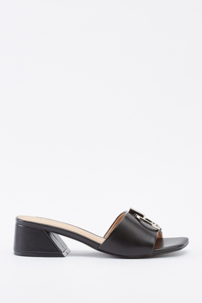 Detail Front Faux Leather Mules