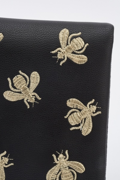 Embroidered Insect Shoulder Bag