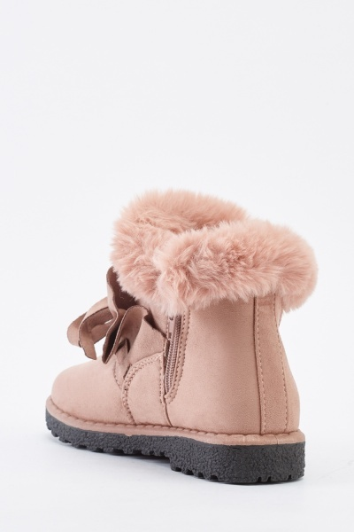 Fluffy Trim Suedette Ankle Boots