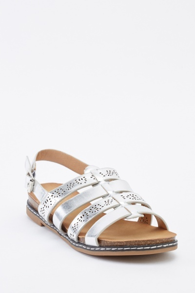 Laser Cut Metallic Strappy Sandals