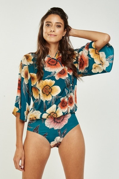 Flower Printed Button Up Bodysuit