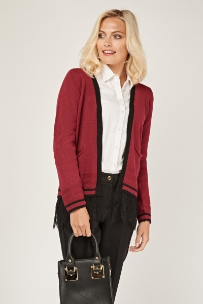 Knitted Lace Trim Cardigan