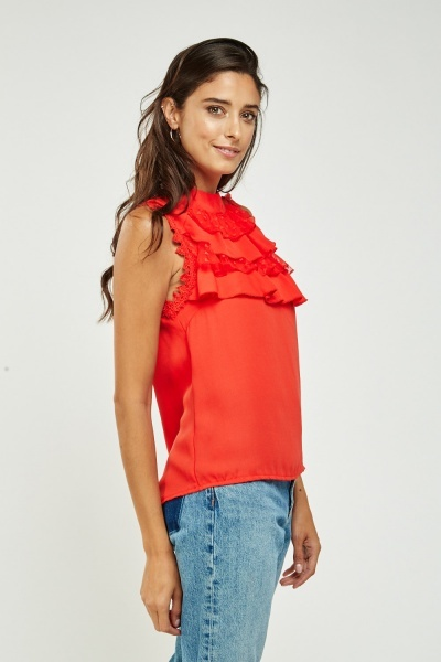Layered Frilled Crochet Blouse