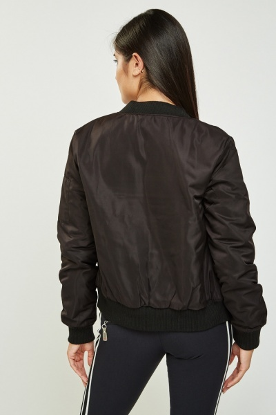 Embroidered Patch Bomber Jacket