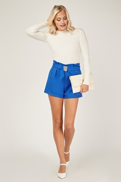 Faux Pearl Sequin Trim Shorts