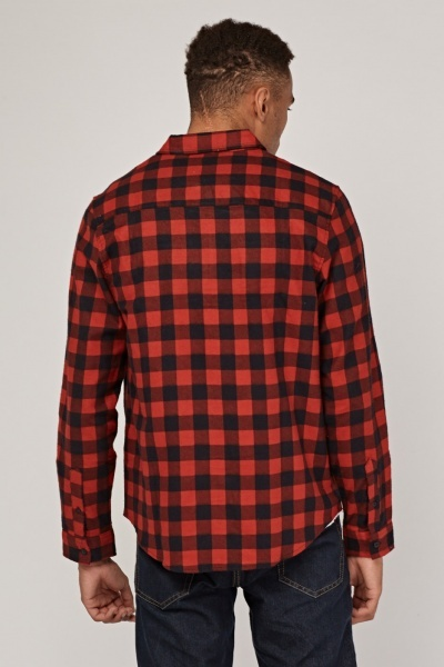 Zip Up Checked Grid Shirt