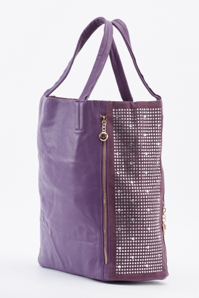 Encrusted Side Zipper Trim Handbag