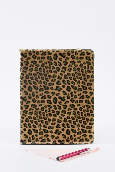 Leopard Print Ipad Case With Stylus Pen