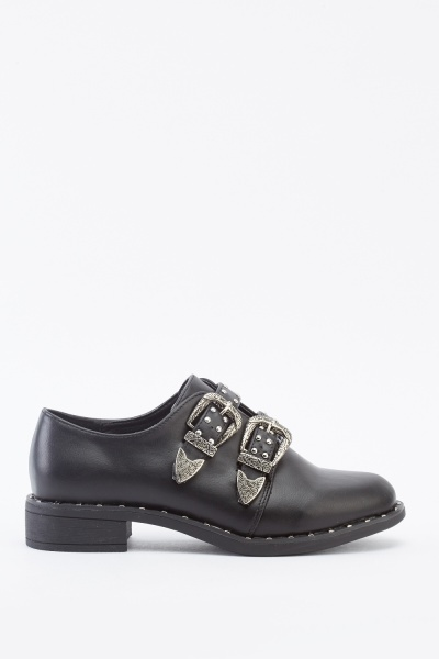 Studded Twin Buckled Strap Shoes
