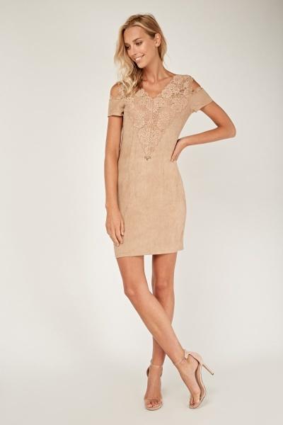 Cold Shoulder Lace Insert Dress