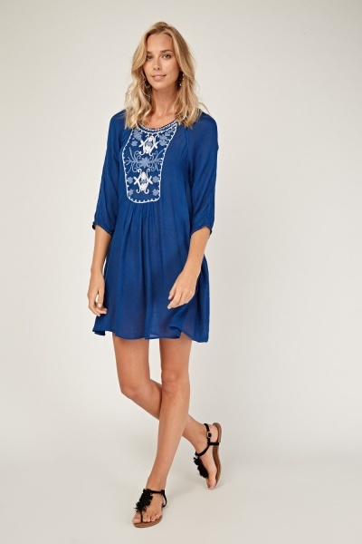 Embroidered Front  Shift Dress