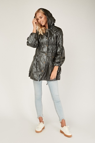 Ruched Long Hooded Jacket