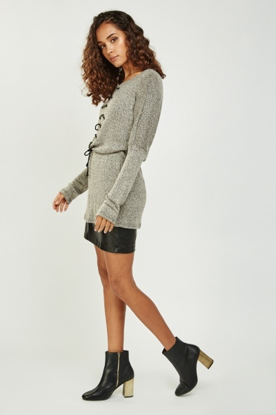 Tie Up Front Speckled Long Knit Top