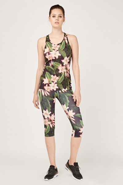 Tropical Floral Sports Tank Top