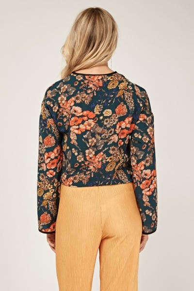 Floral Cropped Wrap Top