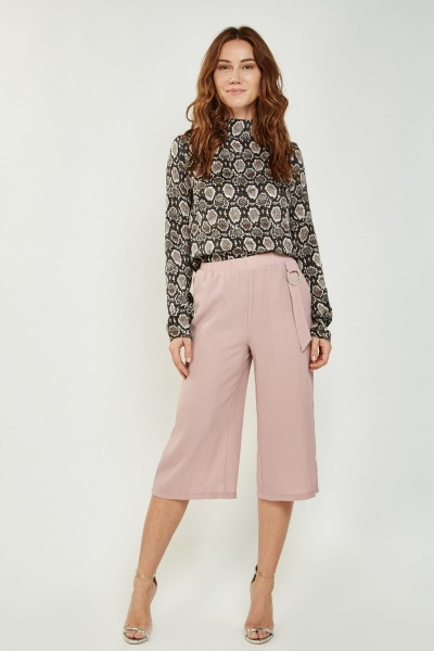 Pleated Wide Culotte Trousers