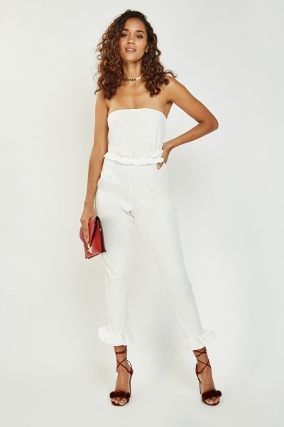 Bandeau Ruffled Trim Jumpsuit