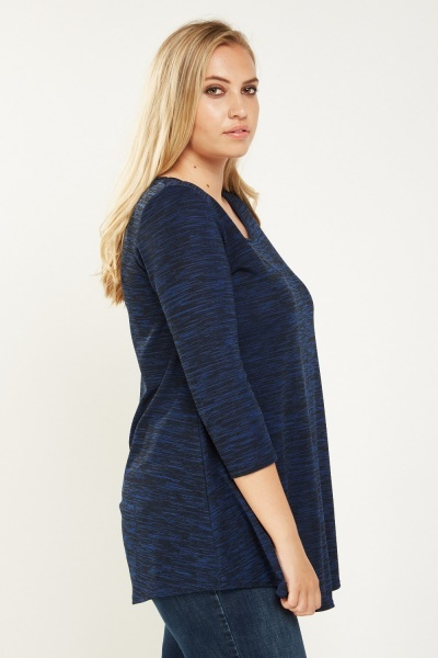 Blue Speckled Causal Top